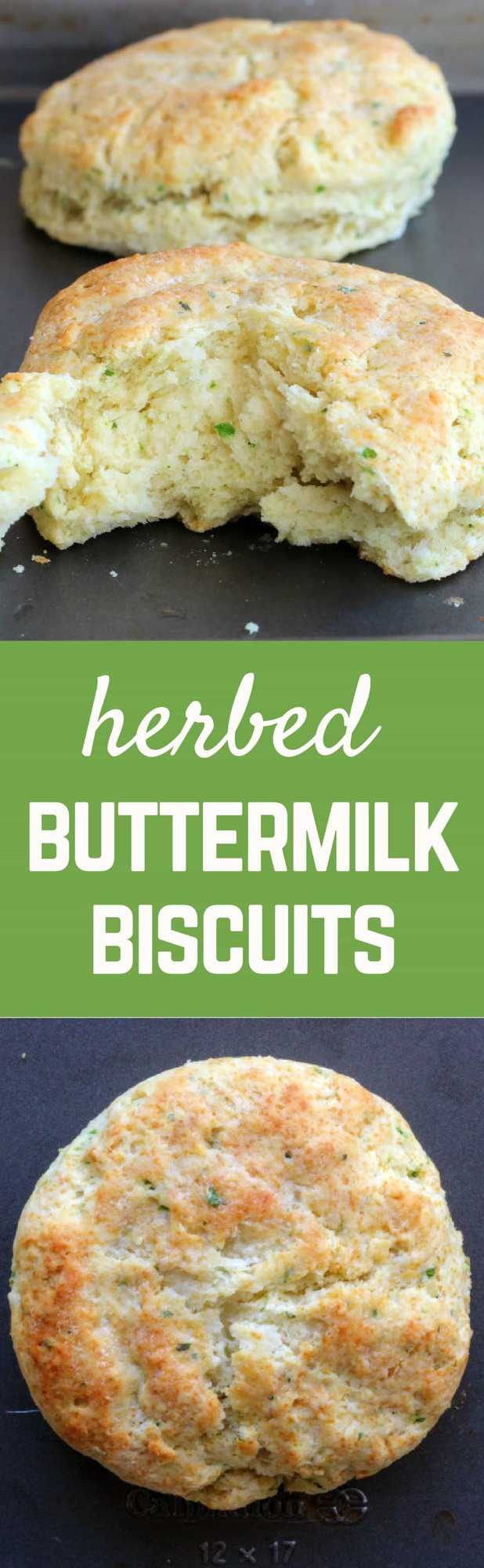 These herbed buttermilk biscuits are a great twist on your typical biscuit. Flaky, buttery layers with fresh herbs thrown in to break up the richness. Get the recipe on RachelCooks.com