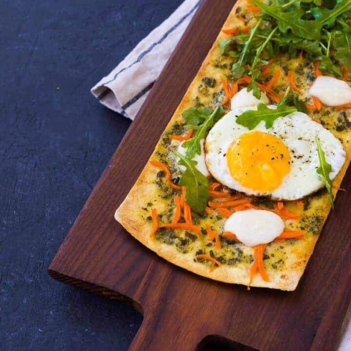 Pesto Flatbread Pizza with Fried Egg and Arugula