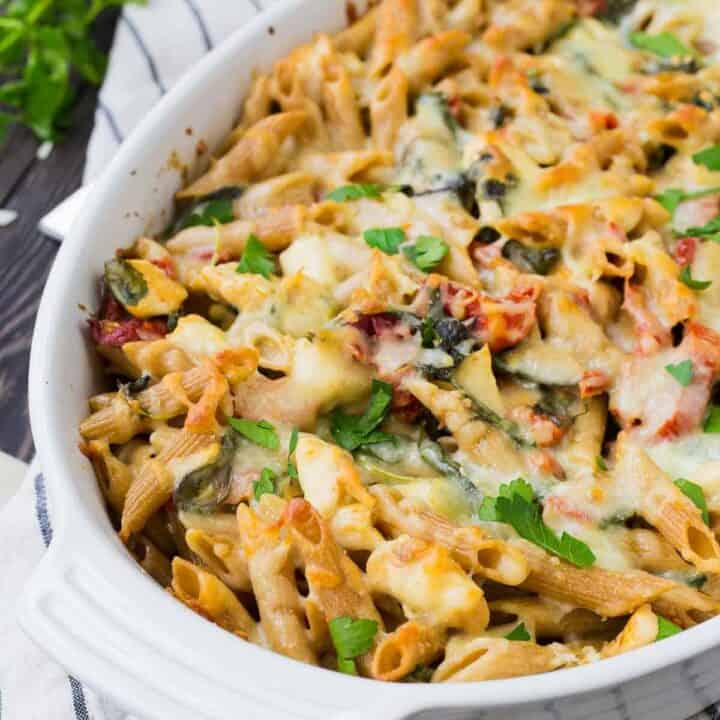 Chicken Tuscan Pasta Bake - Freezer Friendly