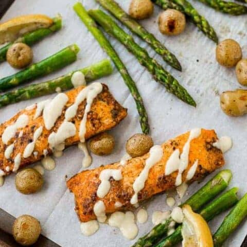 Salmon and Asparagus Sheet Pan Dinner with Potatoes