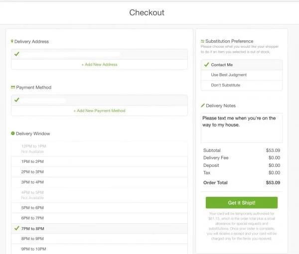 shipt checkout screen