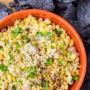 This Mexican Corn Dip has all the flavors of Mexican Street Corn in an irresistible dip format, that you can actually feel good about eating! Get the recipe on RachelCooks.com!