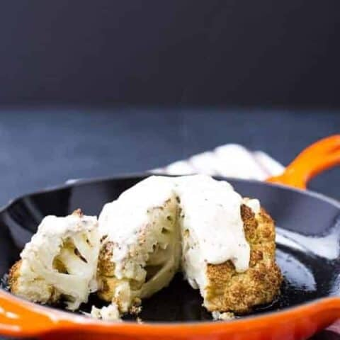 Whole Roasted Cauliflower with Creamy Dijon Sauce