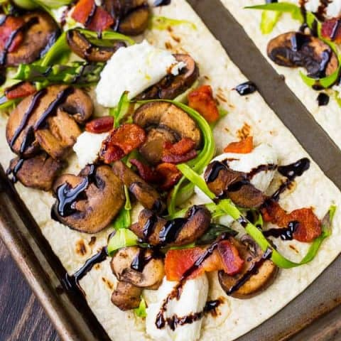 Bacon and Mushroom Flatbread with Shaved Asparagus and Ricotta