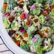A deli classic, made easier on the waistline! You'll love this healthy broccoli salad, it's an absolute crowd pleaser at any barbecue. And don't worry, it still has bacon! Get the easy salad recipe on RachelCooks.com!