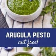 Switch up your pesto game with this arugula pesto. It's great on pasta, pizza, and so much more!  Get the pesto recipe on RachelCooks.com!