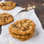 These chewy oatmeal raisin cookies are lacy and thin and perfect with your afternoon coffee or tea! Read my tips for freezing - it's great to brighten someone's day! get the cookie recipe on rachelcooks.com!