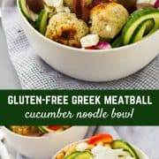 These Greek Cucumber Noodle Bowls with Turkey Meatballs are a fun and filling healthy lunch. Healthy eating doesn't have to be boring! Get the easy recipe on RachelCooks.com!
