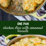 Cozy and comforting, this one pan Chicken Stew with Cornmeal Biscuits is easy to make and even easier to eat! Your whole family will love this new take on a classic. Get the recipe on RachelCooks.com!
