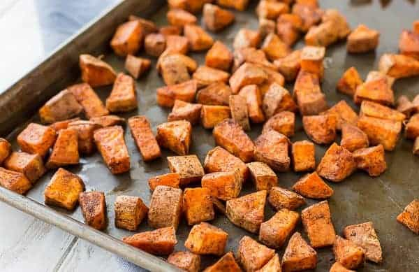 The chili powder and cumin coating on these oven roasted sweet potatoes makes them absolutely perfect in burrito bowls, on tacos, or on their own! They're great with eggs at breakfast, too. Get the simple recipe on RachelCooks.com!