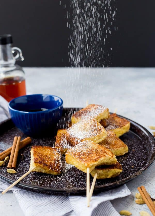 Full of warm spices, these Chai French Toast Skewers are a fun take on French toast that can even be made ahead! They're a must-make for your next brunch! Get the easy brunch recipe on RachelCooks.com!