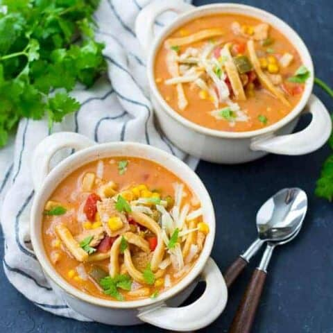 Creamy Chicken Enchilada Soup with Noodles