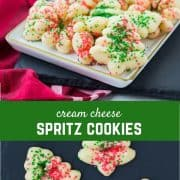 Easy to make and fun to eat, these cream cheese spritz cookies are a Christmas classic that will make a fantastic addition to any cookie platter. Get the fun recipe on RachelCooks.com!