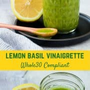 Bright and fragrant, this lemon basil vinaigrette dressing is the perfect healthy salad dressing. It's Whole30 compliant and is a great addition to a green tossed salad or a pasta salad. It's also great drizzled on top of grilled chicken! Get the easy salad dressing recipe on RachelCooks.com!