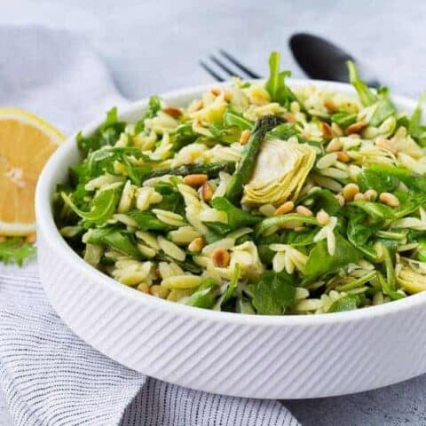 Spring Orzo Salad with Arugula, Asparagus, Pine Nuts