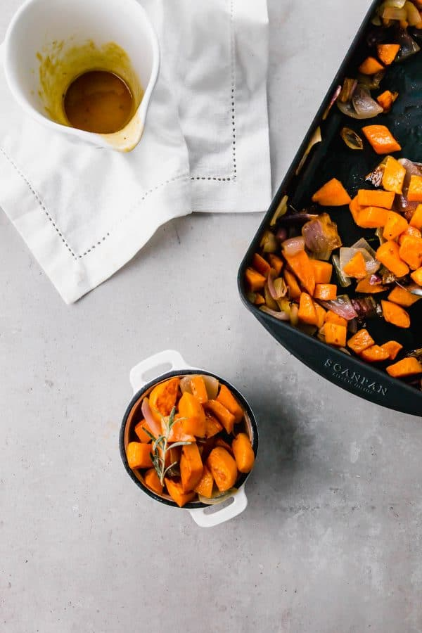 These maple mustard roasted sweet potatoes and shallots are sure to be the star of any dinner and are a cinch to make. You can also use red onions (or really any type of onion!). You'll be eating these like candy!