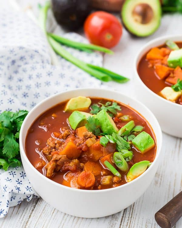 Instant Pot Chili is healthy, adaptable and easy to make. Read all my tips to make it your perfect chili recipe - spicy, mild, vegetarian, Whole30, Paleo, not Paleo, whatever you like, I tell you how to make it happen in this recipe! Get the easy pressure cooker recipe on RachelCooks.com!