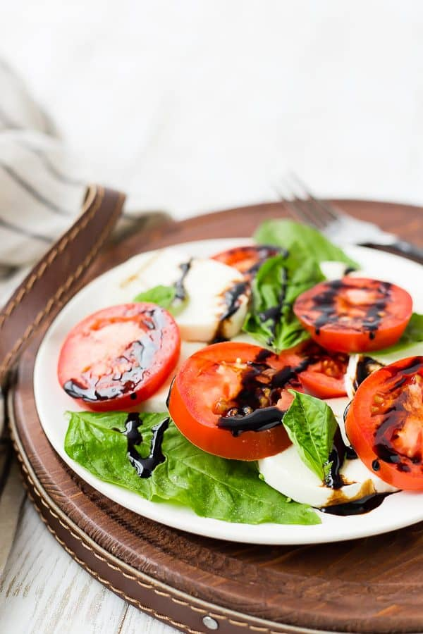 image of caprese salad with balsamic reduction