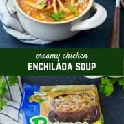 This Creamy Chicken Enchilada Soup with Noodles is cozy, comforting and easy to make. You'll love the twist on classic enchiladas with thick, hearty noodles swimming in a delicious broth. Get the recipe on RachelCooks.com!