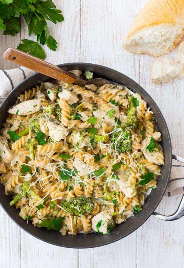 Easy Chicken Alfredo with Broccoli - ONE PAN + Healthy!