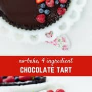 A chocolate tart recipe that is no bake and only uses four ingredients? It may sound too good to be true, but it is indeed true and my husband even deemed this the best dessert he's ever had! The richness of a crunchy chocolate crust topped with smooth, silky ganache filling is offset by fabulously fresh berries. Your friends will think you turned into a fancy pastry chef!