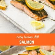 Lemon Salmon with Dill is going to be a weeknight lifesaver. It's ready in less than 30 minutes, it's healthy, flavorful and so ridiculously easy to make. You're going to end up making it once a week! Get the great salmon recipe on RachelCooks.com