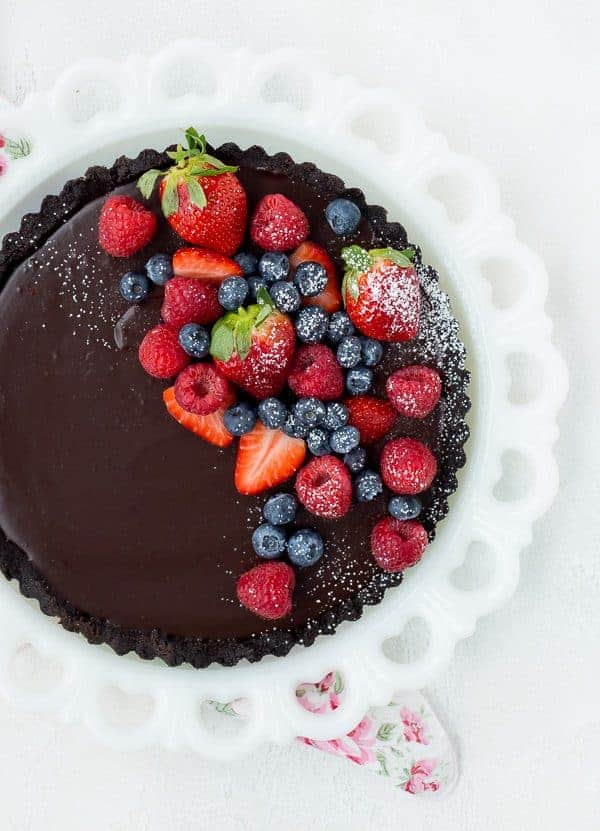chocolate tart topped with fresh berries
