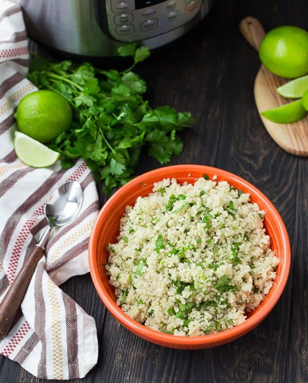 Instant Pot Quinoa is so quick and easy to make, plus it's nearly hands-off! You will love this method of cooking quinoa if you're a pressure cooker user. Try it today! Get the recipe for cilantro lime quinoa on RachelCooks.com!