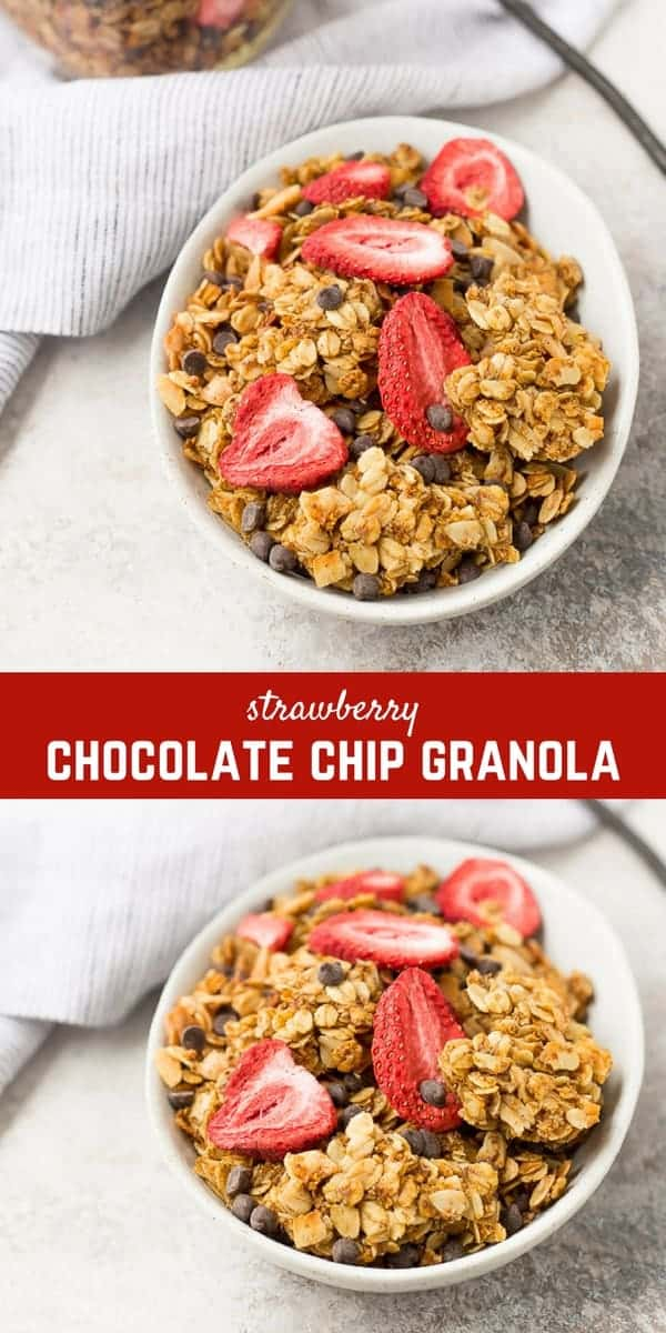 Chocolate Chip Granola with Strawberries walks the line between breakfast and dessert but it is fully and completely in DELICIOUS territory! Strawberries and chocolate are a match made in heaven, and all the other players in this granola make the flavors pop! Make it today and enjoy it all week!
