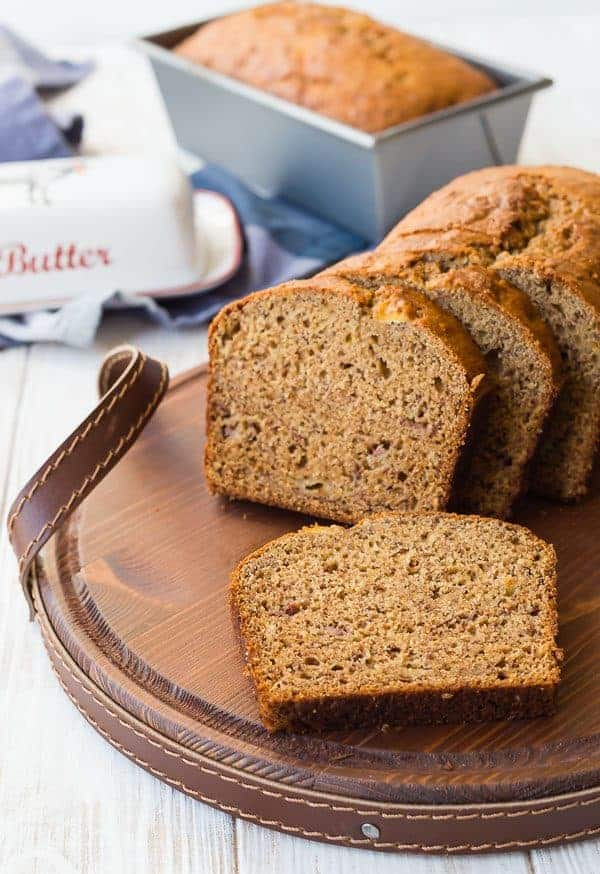 image of whole wheat banana bread cut on a tray