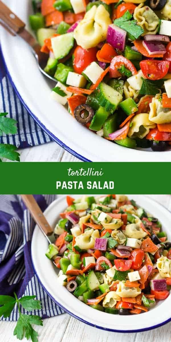This is a classic tortellini pasta salad that's perfect for cookouts, BBQs, and potlucks! It's a universal crowd-pleaser thanks to cheesy pasta pockets and all the other fresh and flavorful ingredients. Make it for your next picnic!