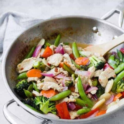 This sweet chili chicken stir fry is a quick and easy healthy dinner that comes together in 30 minutes, is so full of flavor, and is flexible based on what vegetables you have on hand!Get the recipe on RachelCooks.com