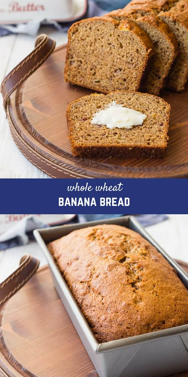 Whole Wheat Banana Bread is a staple in my house - my kids adore it and it's the perfect use for ripe bananas. People are always shocked when I tell them this is healthy! It freezes well and it's going to become a staple in your house, too.