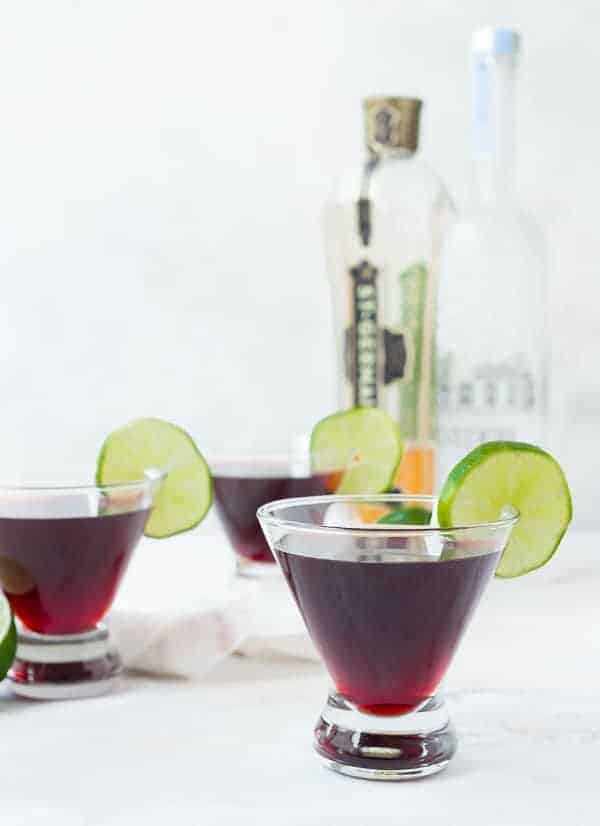 This cherry martini with lime and elderflower is fruity, flavorful, and so easy to make! Make a big pitcher for entertaining or make a single glass for a night out on the deck. You're going to love it!