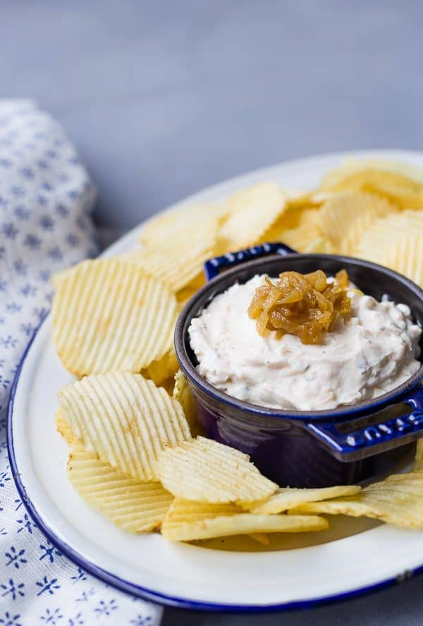 Homemade french onion dip is made with greek yogurt and homemade seasoning for a healthy version of this dip that disappears quickly every time!
