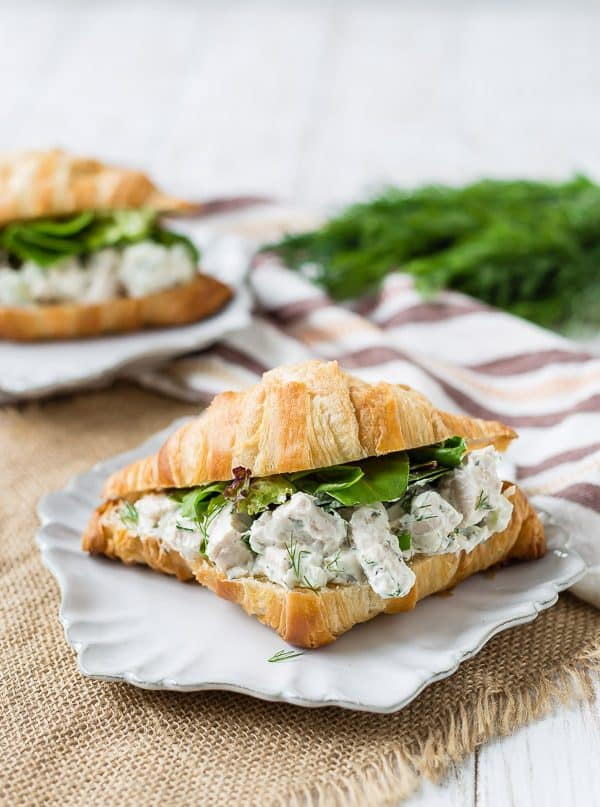 This dill chicken salad is healthy, easy to make and perfect if you like to meal prep! It's great on a croissant, a wrap, a salad, or on its own!