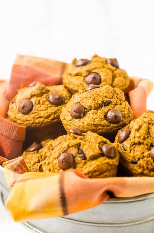 Flavorful pumpkin chocolate chip muffins flecked with dark chocolate chips are going to become a fall favorite! Use whole wheat flour to make them healthier and give them a great nutty flavor!