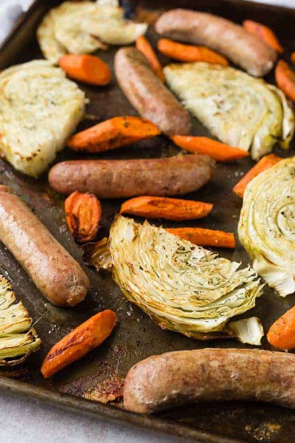Sausage Sheet Pan Dinner with Cabbage and Carrots