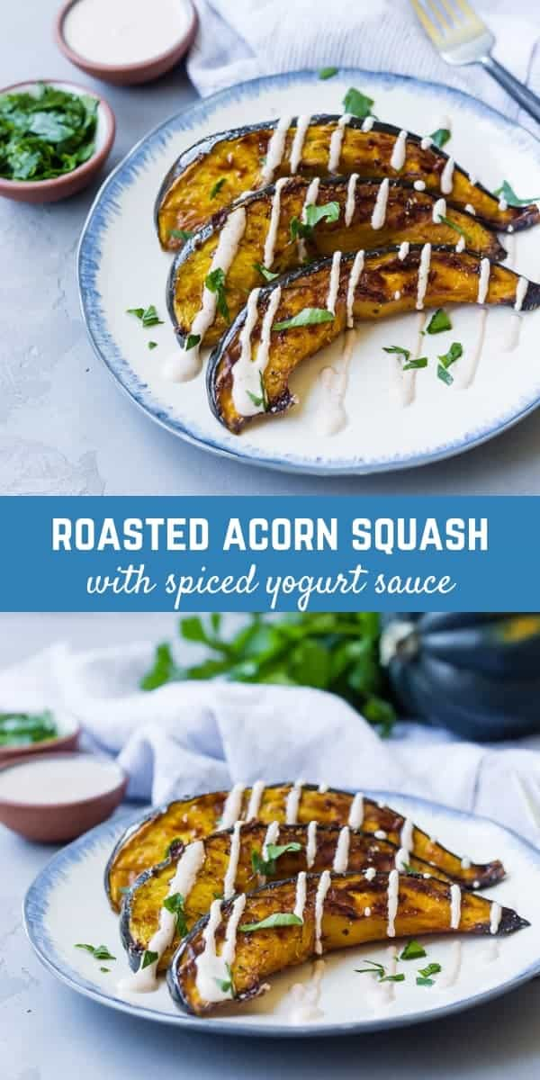 This roasted acorn squash is served with a spiced yogurt sauce that you're going to find absolutely irresistible! It's a great way to switch up things from plain ol' acorn squash!