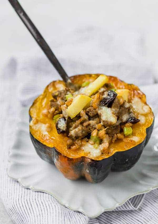Stuffed Acorn Squash with Sausage and Farro