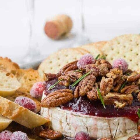 Baked Brie Recipe with Cranberries and Bourbon Pecans