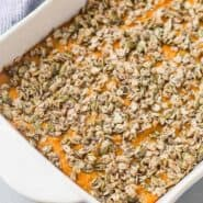 image of healthy sweet potato casserole with oats and pumpkin seeds