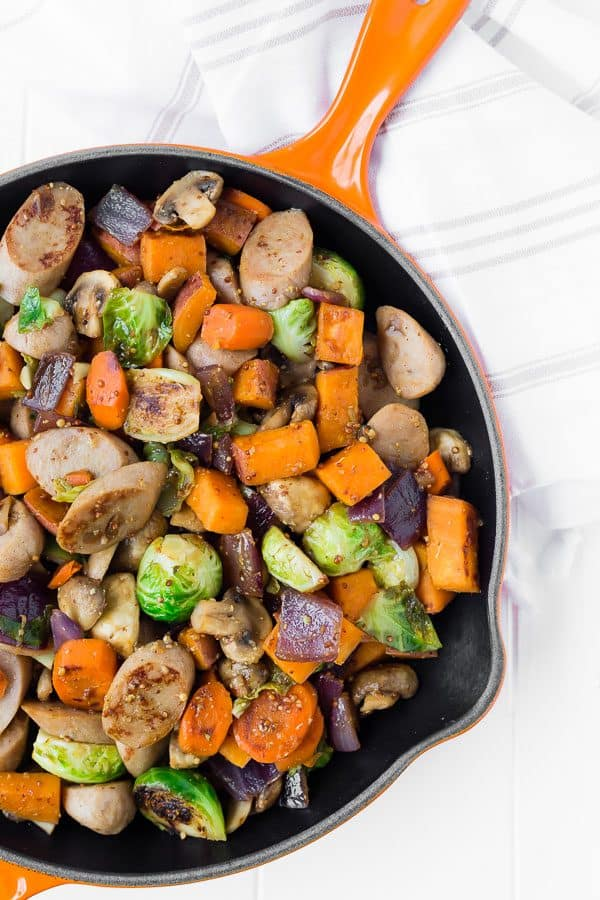 This one pan sausage dinner is the perfect 30 minute meal on a night when you want a nutritious meal but you really don't feel like cooking!