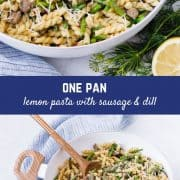 This one pan lemon pasta has some bright spring flavors in a cozy, one pan pasta that's easy to make and even easier to eat. It's the best of both worlds!