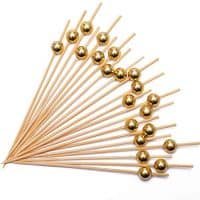 Cocktail Picks Bamboo Toothpicks in Gold Pearl