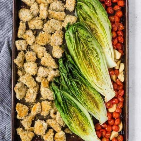 Roasted Romaine Salad - Sheet Pan Dinner