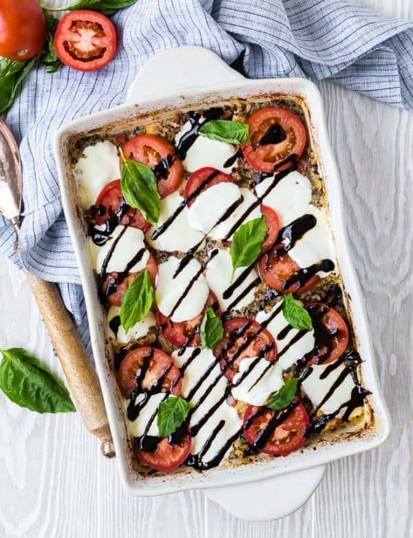 Made in one pan and largely hands-off, this chicken caprese quinoa bake is a vibrant taste of summer with very little work!