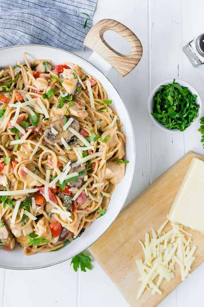 One Pan Creamy Chicken Spaghetti