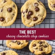 These are the best chewy chocolate chip cookies, and they're so easy to make! They're going to quickly become a go-to in your house!