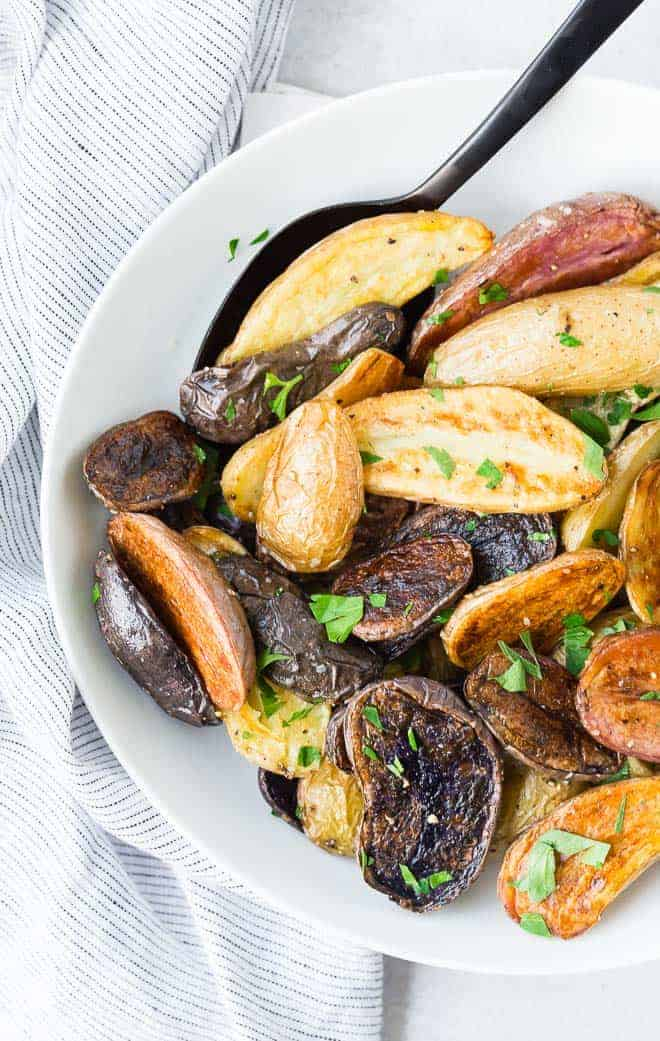 These fun and colorful roasted potatoes will impress friends and family but taste great any day of the week. And they're so easy to make!